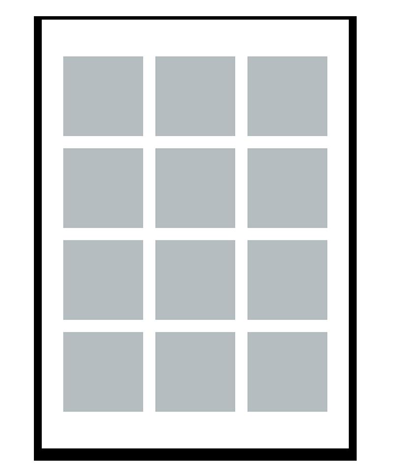 Personlig fotocollage plakat med 12 billeder. 50x70cm. Papir: 250g.