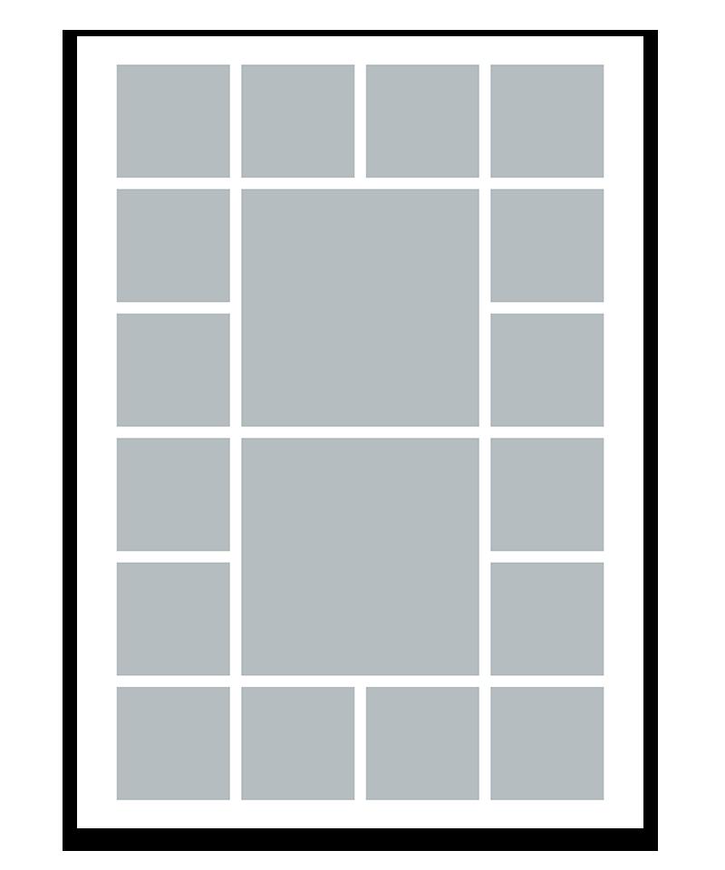 Personlig fotocollage plakat med 18 billeder. 50x70cm. Papir: 250g.