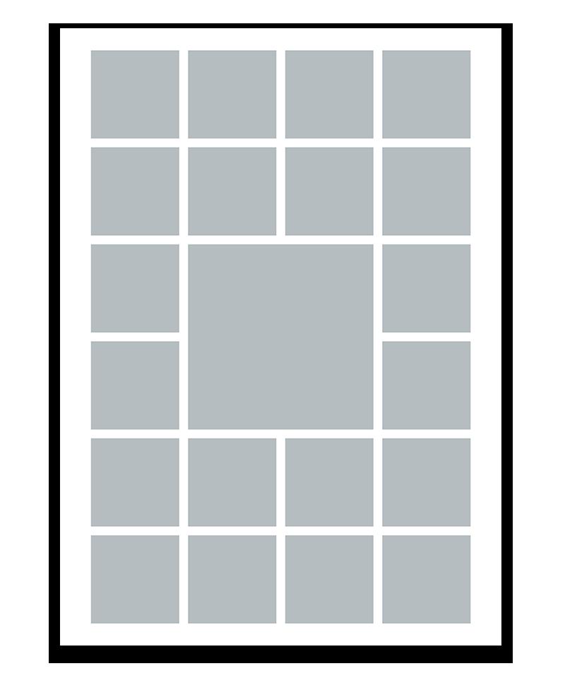 Personlig fotocollage plakat med 21 billeder. 50x70cm. Papir: 250g.