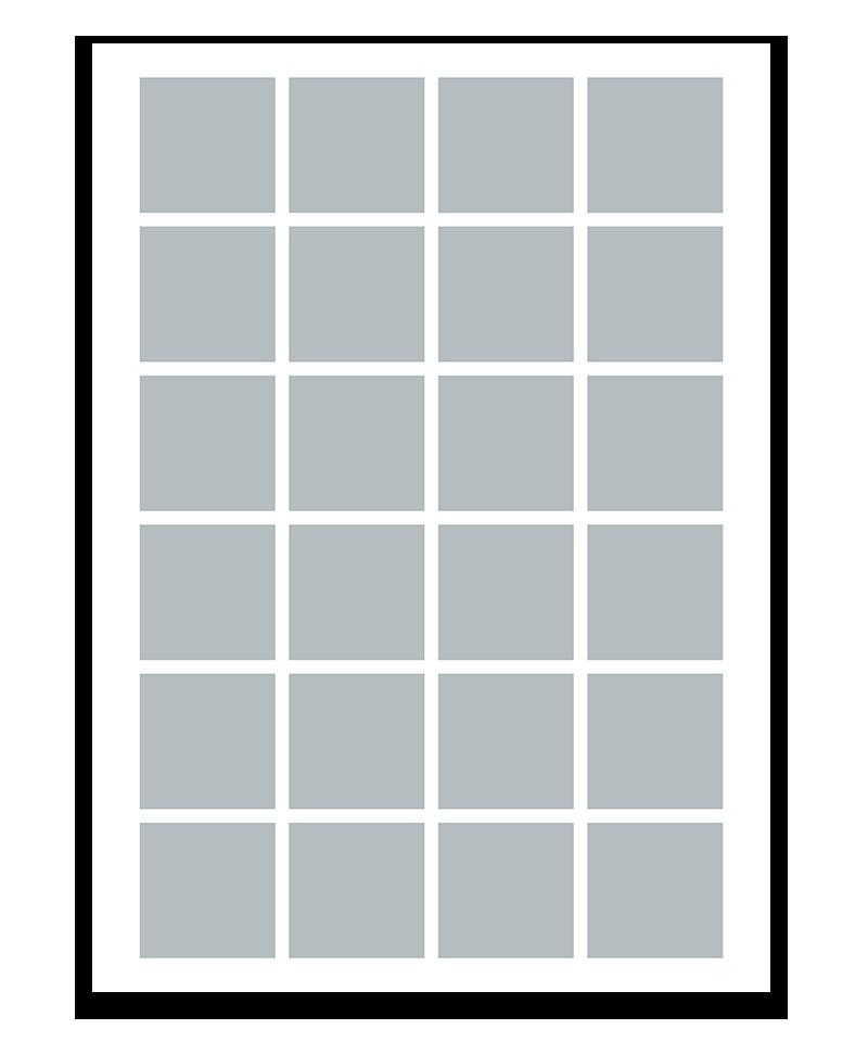 Personlig fotocollage plakat med 24 billeder. 50x70cm. Papir: 250g.