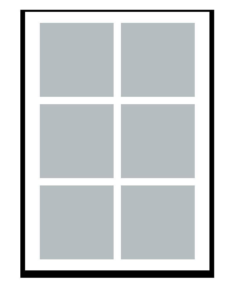 Personlig fotocollage plakat med 6 billeder. 50x70cm. Papir: 250g.